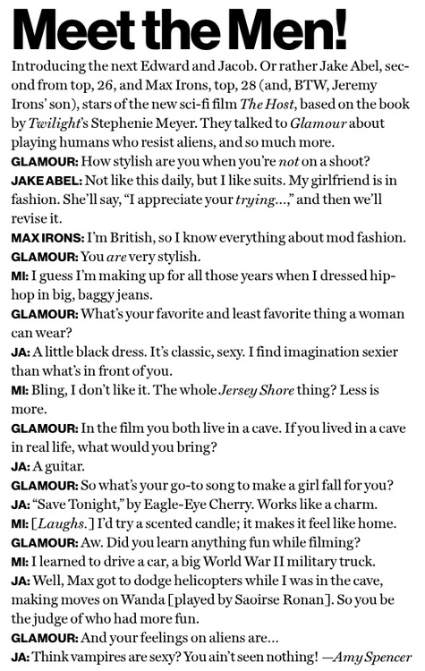 Jake and Max Glamour Mag