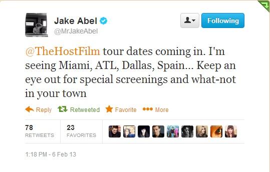 Jake Abel Tweet Tour
